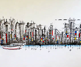 Doha Skyline with Dhow - Mondrian Style 2015